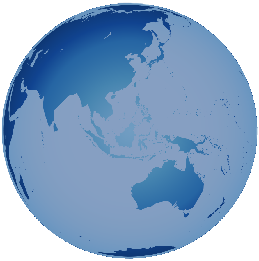 Blue 3D Globe World View focussed on Southeast Asia
