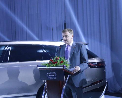 Speaker at the official launch of the Range Rover Velar